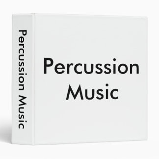 Percussion Music Black Lettering on White Binder Binders