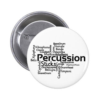 Percussion Word Cloud Black Text 2 Inch Round Button