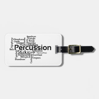 Percussion Word Cloud Black Text Bag Tag