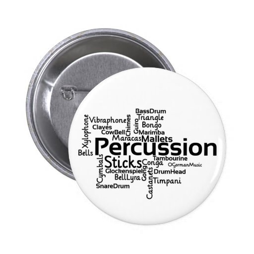 Percussion Word Cloud Black Text Pinback Button