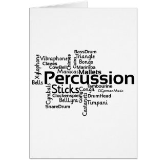 Percussion Word Cloud Black Text Greeting Card