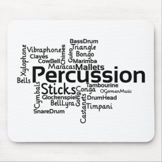 Percussion Word Cloud Black Text Mouse Pad