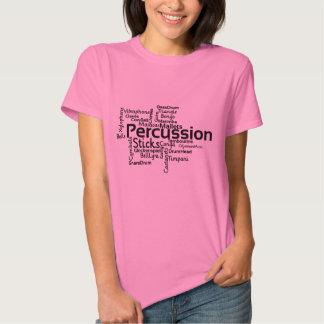 Percussion Word Cloud Black Text T Shirt