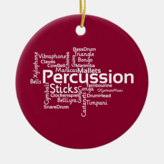 Percussion Word Cloud Christmas Tree Ornament
