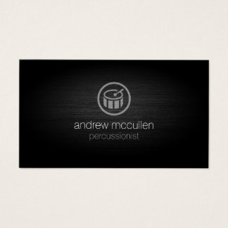 Percussionist Drum Icon Brushed Metal Musician Business Card