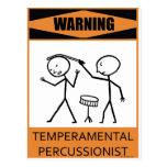 Percussionist temperamental amonestador tarjeta postal