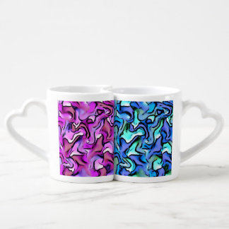 PERCY abstract,pink blue Couples' Coffee Mug Set
