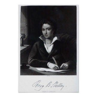 Percy Bysshe Shelley, engraved by William Holl Poster