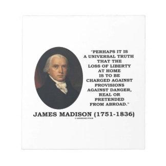 Pérdida de James Madison de cita del peligro de la Blocs De Papel