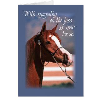 Pérdida de la condolencia de caballo, azul tarjeta de felicitación