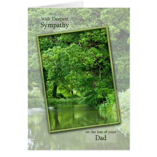 Pérdida de papá, escena tranquila de la tarjeta de felicitación
