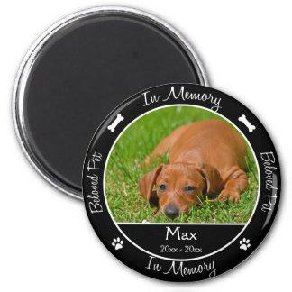 - Pérdida de perro - foto de encargo conmemorativa Imán Redondo 5 Cm