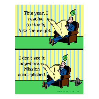 Pérdida de peso retra de la resolución divertida postal