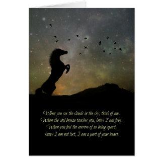 Pérdida de tarjeta de condolencia del caballo