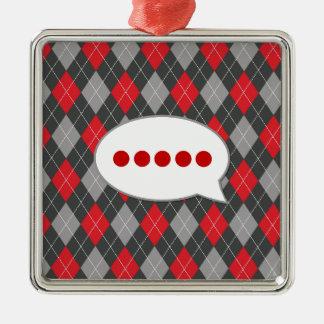 Pérdida para las palabras: Modelo negro y rojo de Adorno Navideño Cuadrado De Metal
