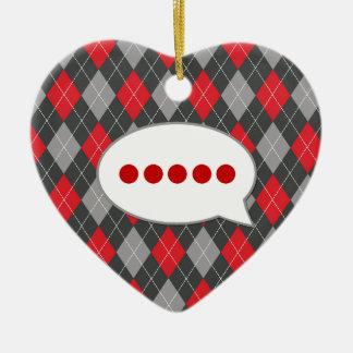 Pérdida para las palabras: Modelo negro y rojo de Adorno Navideño De Cerámica En Forma De Corazón