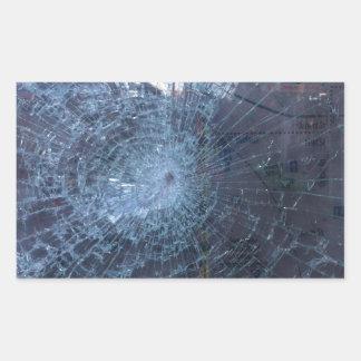 Perdido -- con el vidrio y el mapa quebrados pegatina rectangular