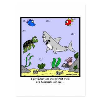 Perdido: Dibujo animado del tiburón Tarjeta Postal