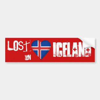 Perdido en corazón de la bandera de Islandia Pegatina Para Auto