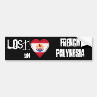 Perdido en corazón de la bandera de Polinesia fran Etiqueta De Parachoque
