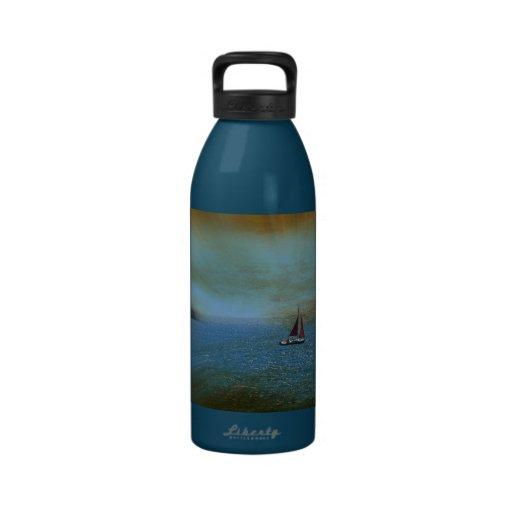 Perdido en el mar botella de beber