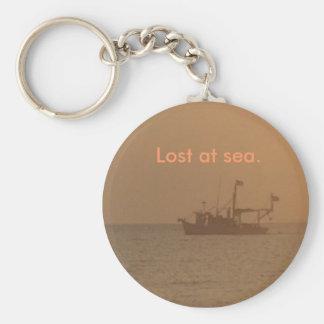 Perdido en el mar llavero redondo tipo pin