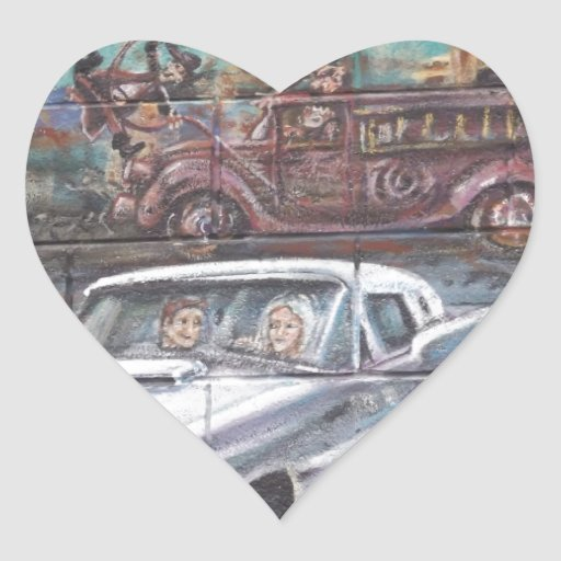 Perdido en los años 50 calcomania corazon