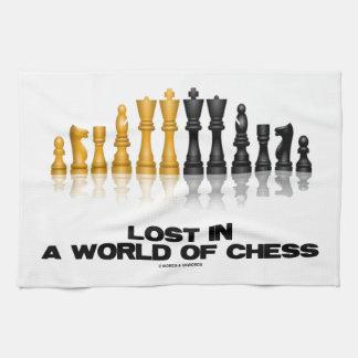 Perdido en un mundo del ajedrez juego de ajedrez toalla