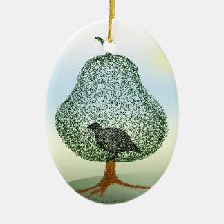 Perdiz en navidad de un peral adorno ovalado de cerámica