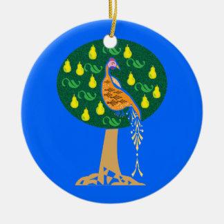 Perdiz en un peral adorno navideño redondo de cerámica