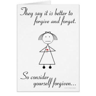 Perdone y olvide tarjeta de felicitación