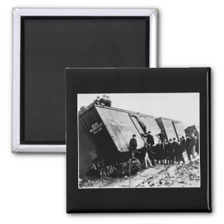 Pere Marquette Railway Freight Wreck 2 Inch Square Magnet