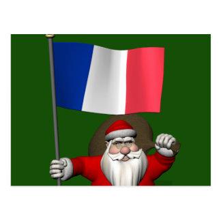 Père Noël con la bandera de Francia Tarjetas Postales
