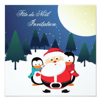 Père Noël e invitación de Manchot Fête de Noël