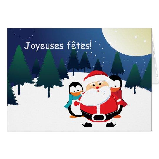 Père Noël et Manchot  Santa Claus cartes Card