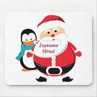 Père Noël et Manchot Santa Claus Tapis de souris Mouse Pads