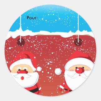 Père Noël Santa Claus Autocollants ronds Etiquette Classic Round Sticker