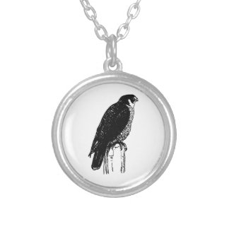 Peregrine Falcon (illustration) Silver Plated Necklace