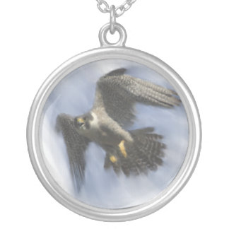 Peregrine Falcon in Flight Round Pendant Necklace