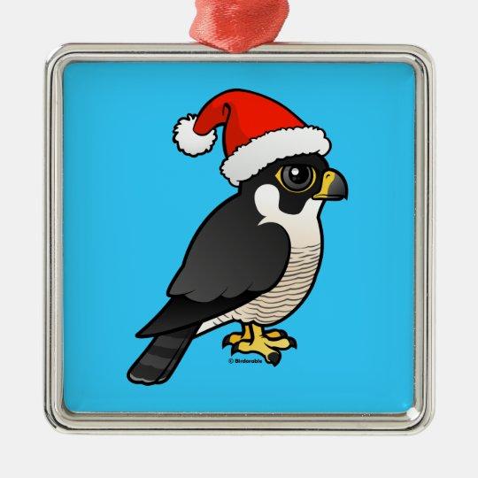 Peregrine Falcon Santa Metal Ornament