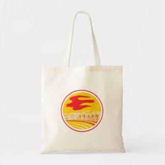 Peregrine Falcon Silhouette Oval Retro Tote Bag