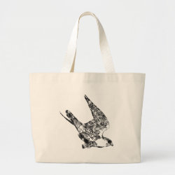 Jumbo Tote Bag with Peregrine Falcon Sketch design