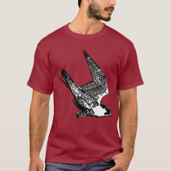 Men's Basic Dark T-Shirt with Peregrine Falcon Sketch design