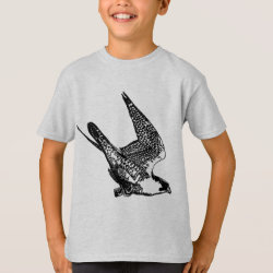 Kids' Hanes TAGLESS® T-Shirt with Peregrine Falcon Sketch design