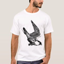 Men's Basic T-Shirt with Peregrine Falcon Sketch design