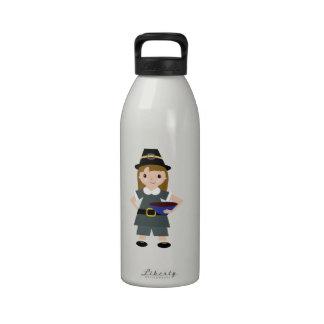 Peregrino de la acción de gracias botella de agua reutilizable