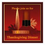 Peregrino de la acción de gracias y cena india del anuncio