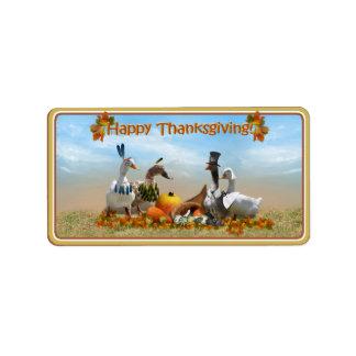 Peregrino de la acción de gracias y patos indios etiqueta de dirección