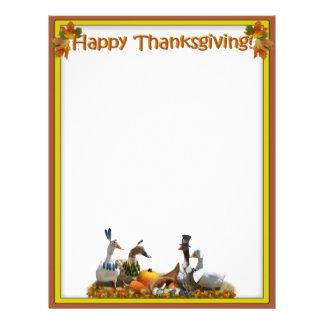 Peregrino de la acción de gracias y patos indios membretes personalizados