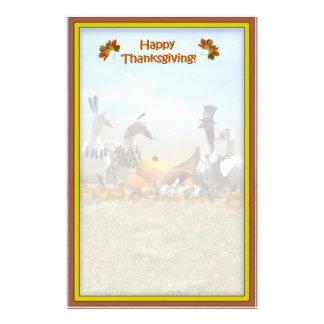 Peregrino de la acción de gracias y patos indios papelería personalizada